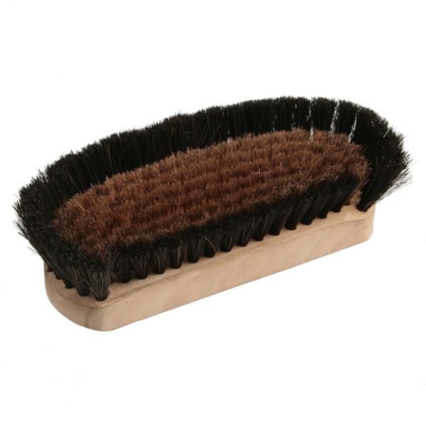 Pfannenschrubber mit Holzkörper, Stielloch und gewelltem Bronzedrahtbesatz mit Palmfaserbart - 75 x