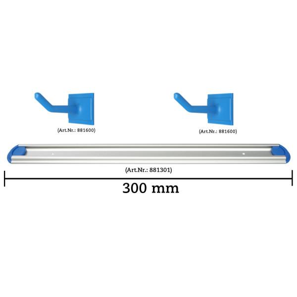 Wandschienen System 300 mm konfigurierbar - 1 Haken, 1 Halterung 22-30 mm - gelb