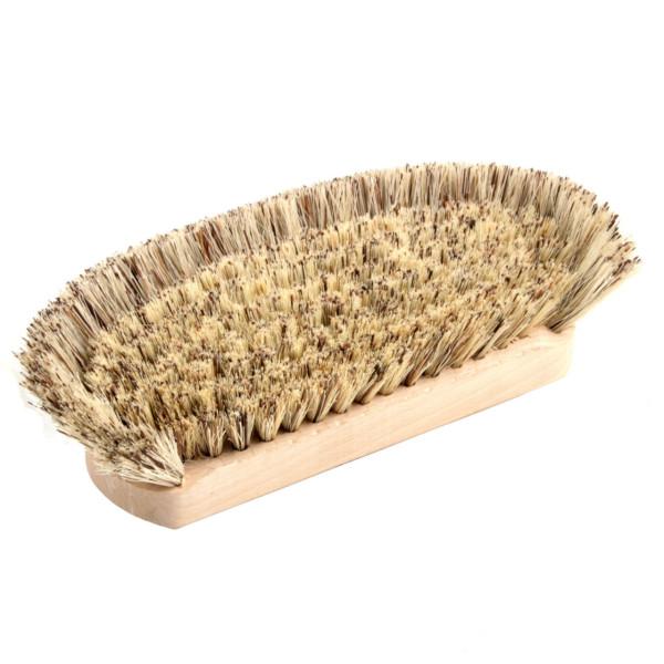 Bottichschrubber mit Holzkörper und kräftigen Fibremischungsbesatz - Halbmond - 95x245 mm