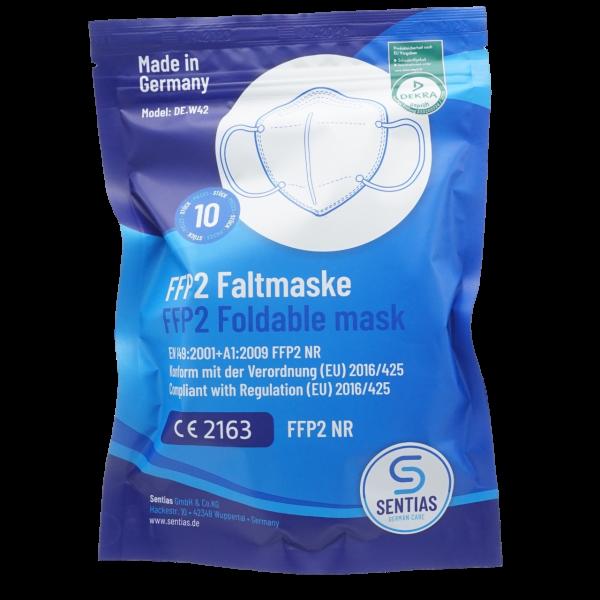 """SENTIAS FFP2 Maske für Atemschutz """"Made in Germany"""" CE 2163 mit DEKRA Schadstoff-Prüfung"""