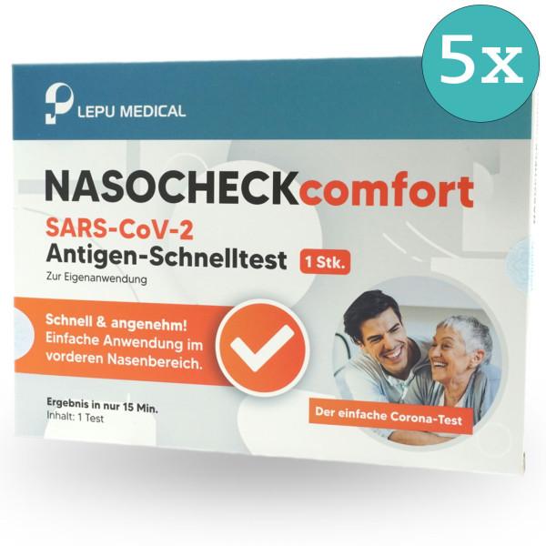 LEPU NASOCHECK comfort SARS-CoV-2 Antigen Laien-Schnelltest - 5 Stück